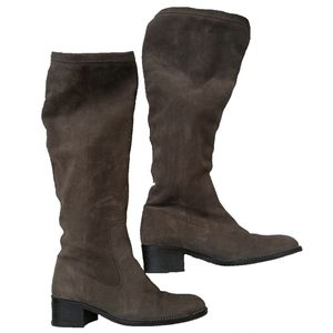 MASSIMO DUTTI Brown Suede Leather Pull On Boots